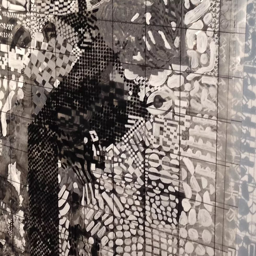 Tina Douglas  experiment I (detail) 2014-16  Acrylic on printed acetate grids. Lightbox.  Dimensions variable.