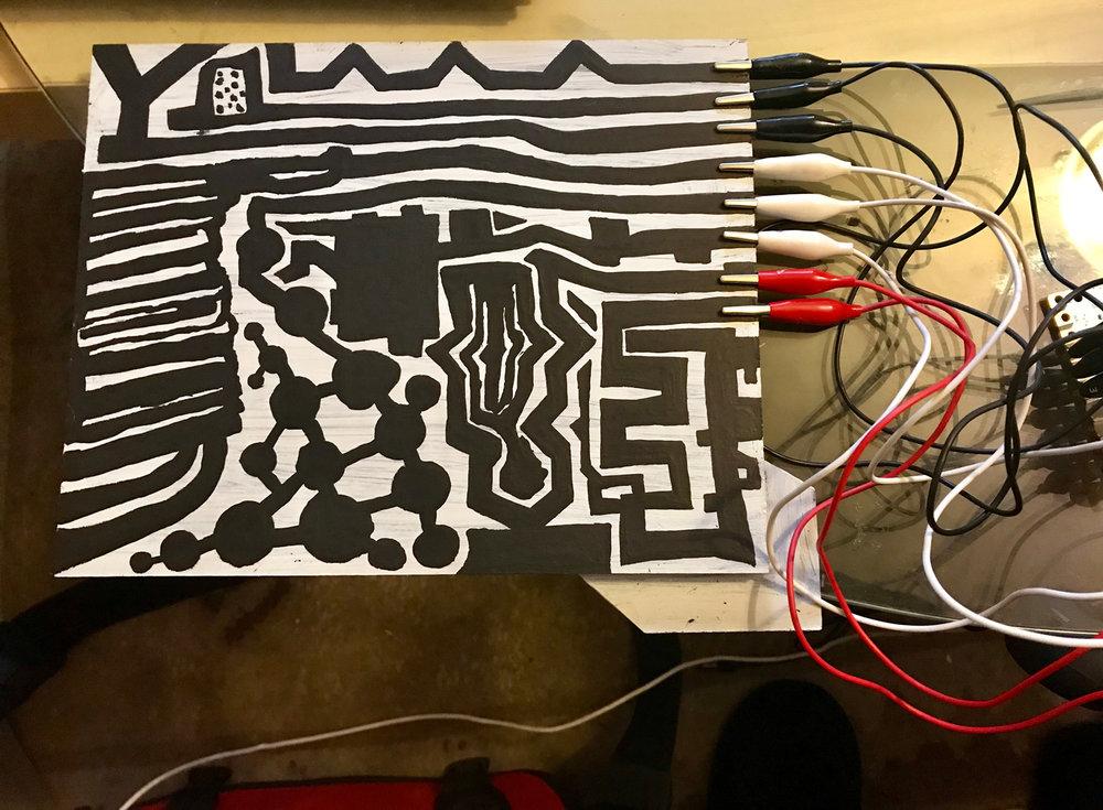 Set up for Tina Douglas (Electronics, Objects, Conductive Paint), SOOM 2018