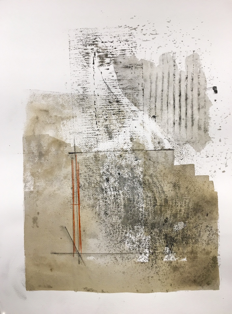 "Untitled, no. 57. Monoprint, 20"" x 16"". 2017."