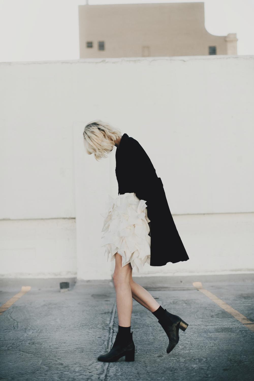 Jacket: Genevieve Clifford /Knit tank: Pima Doll /Skirt: Yumi Katsura