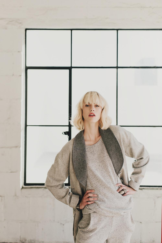 Sweater: ECHO + air /Pants: ECHO + air /Coat: KAHLO /Shoes (above): Jeffery Campbell /Bracelet: Delphine-Charlotte Parmentier /Ring: Delphine-Charlotte Parmentier