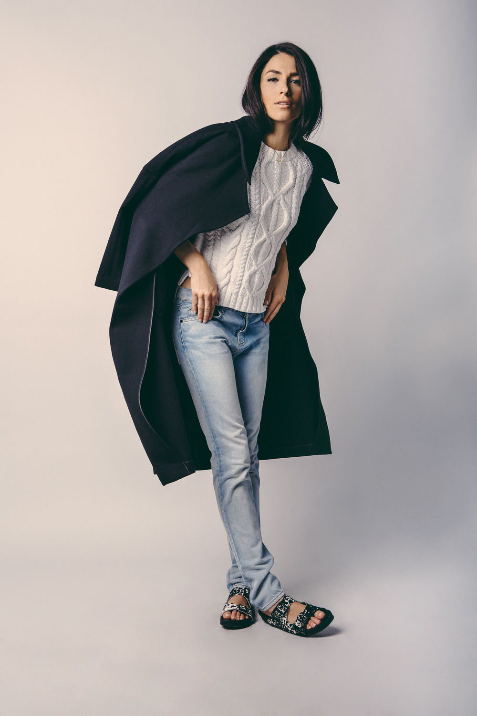 Coat: J Brand / Sweater: J Brand / Denim: Proenza Schouler / Shoes: Steve Madden / Necklace: Model's Own