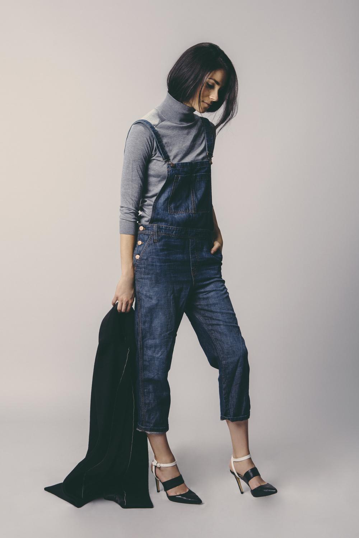 Denim Overalls: J Brand / Sweater: Zara / Overcoat: J Brand / Shoes: Banana Republic