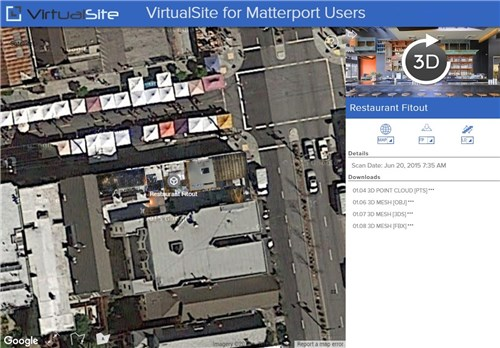 VirtualSite for Matterport users: overlay multiple Matterport scans on Google Maps. See  for Matterport users  for more details.