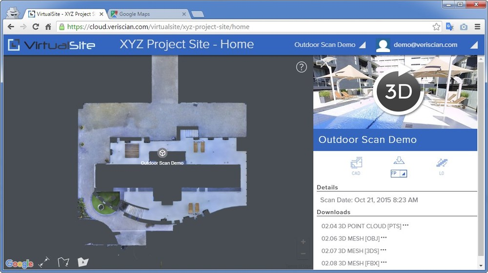 Matterport scan of an outdoor pool area using the VirtualSite platform.