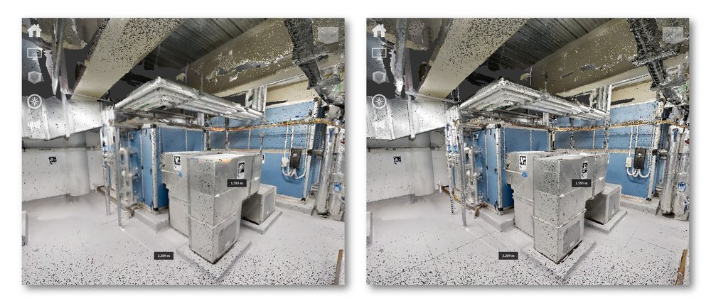 Comparison of low resolution 50k (left) and high resolution MatterPak (right)  OBJ files converted to point cloud