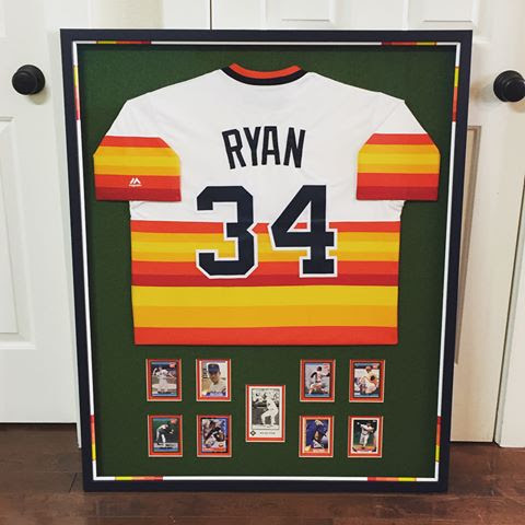 Custom Framed Nolan Ryan Memorabilia