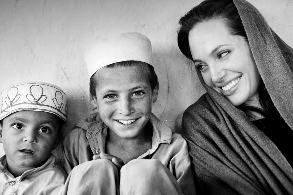 Taken by  Marco Di Lauro  during Angelina's trip to Afghanistan.