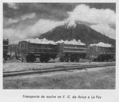 The old steam engine train from Tacora loaded with sulphur. Image taken from Memoria de Ferrocarriles del Estado de 1970. More information on this train line at: http://www.institutoferroviario.cl/2014/07/la-industria-azufrera-el-andarivel-y-el-ferrocarril-de-tacora/