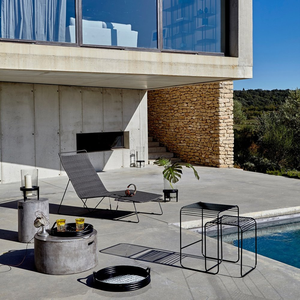 Lounger, table and stools from La Redoute
