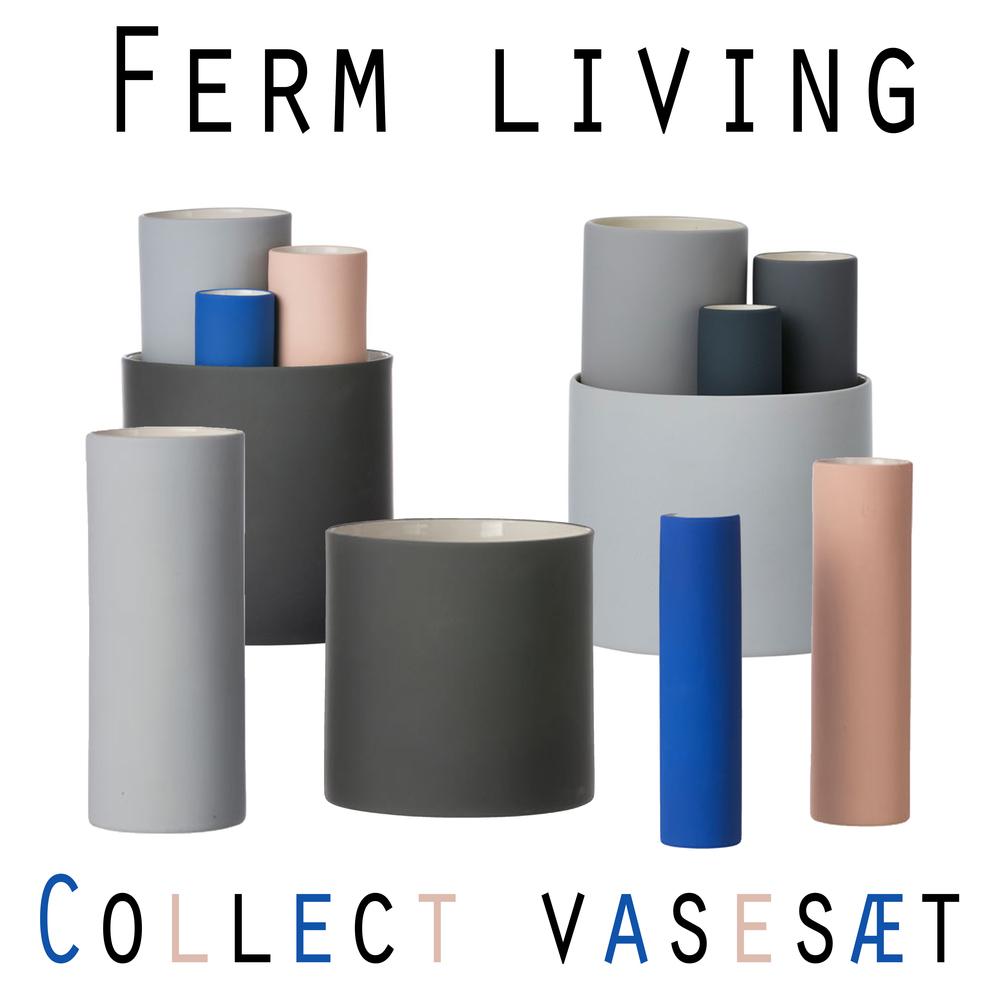Ferm Living - Collect vasesæt serien er super super dekorative og jeg elsker at de fåes i både neutrale farver og pangfarver! Sættene fåes nemlig i to varianter - en med de flotte farver i blå og Fersken og et sæt med Grå farver! Fælles for de to sæt er at der i begge sæt indgår 4 vaser og prisen er 699,- i Livingshop!
