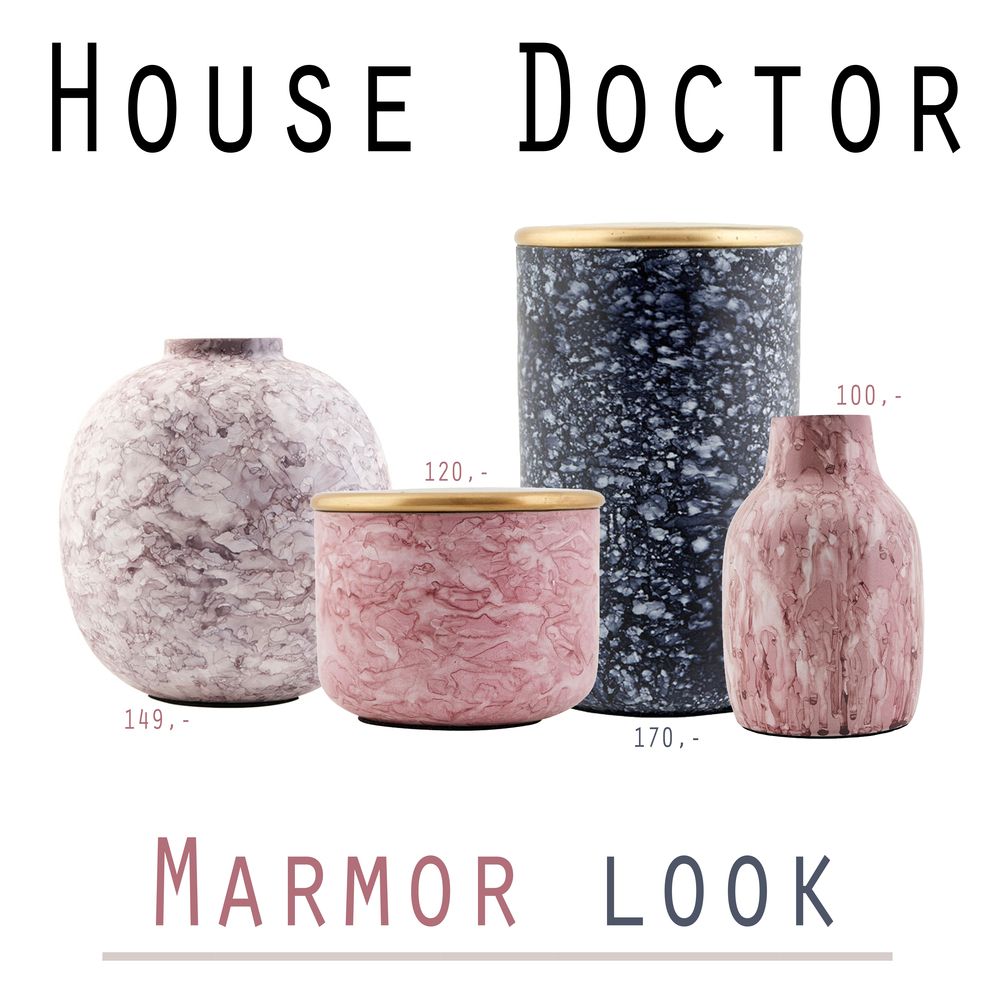 House Doctor - Denne serie er en måde at komme så tæt på marmor looket som muligt, altså uden det er marmor, og til fornuftige penge ;) Jeg er dybt forelsket i især de rosa her :) De kan findes på Livingshop til hhv. 149,- / 120,- / 100,- / 170,-