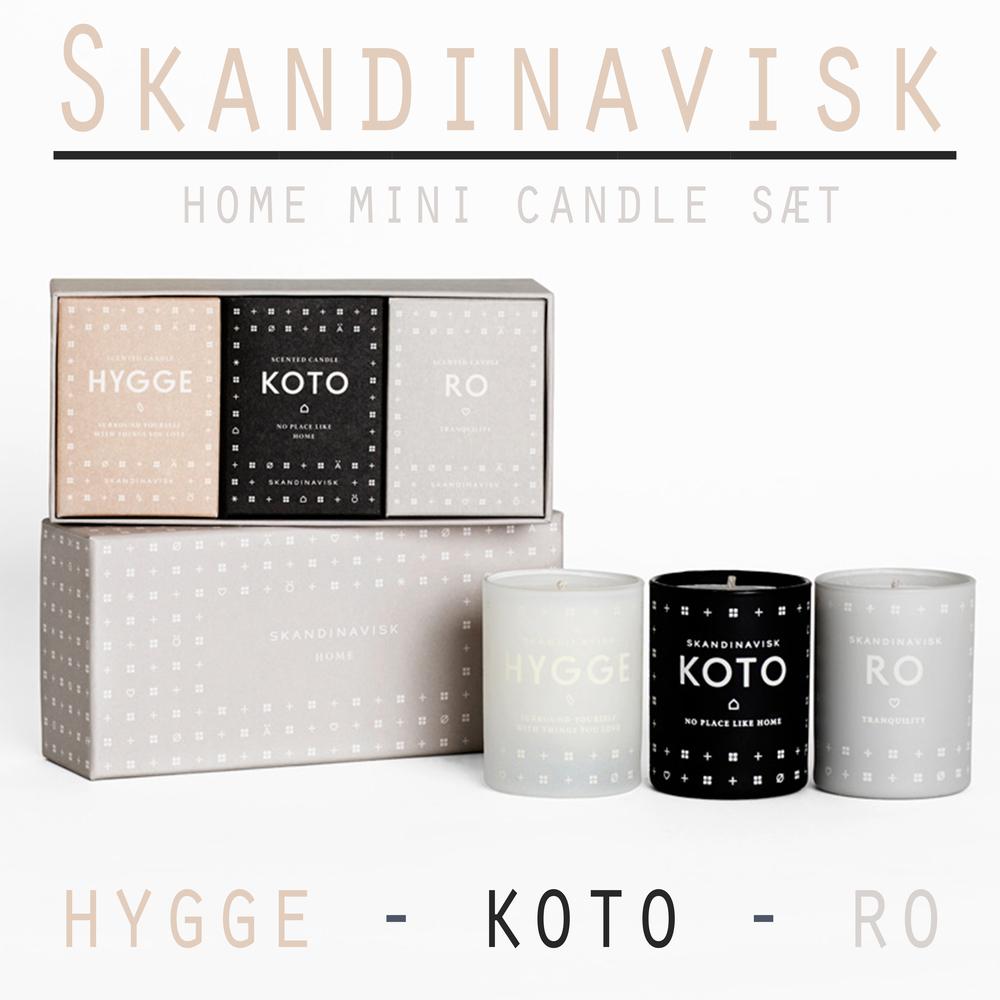 Skandinavisk - Mini candle sæt er en super god gaveide, med 3 forskellige gode dufte. Brændetid 16 timer pr. stk. Prisen er 349,- for denne smukke gaveæske, find dem HER i Livingshop!