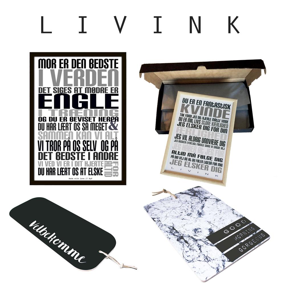 LIVINK - Mor plakaten fra LIVINK er som lavet til Mors dag, den fås både i A4 til 199,- og A5 i gaveæske til 129,- Skærebrætter i forskellige varianter til 299,95,- fra LIVINK, perfekte at bruge til mors dejlige mad (Velbekomme og marmor) Find det hele i Livingshop!