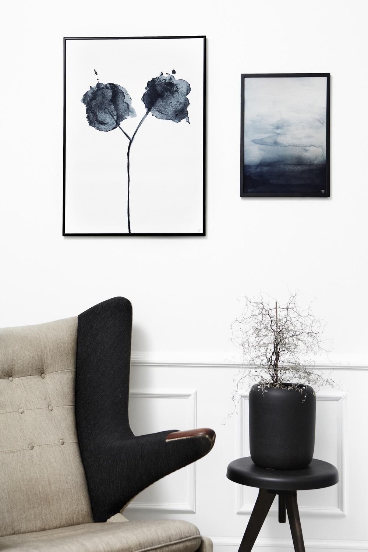 Styling af flora & Blue waters kunstprint.