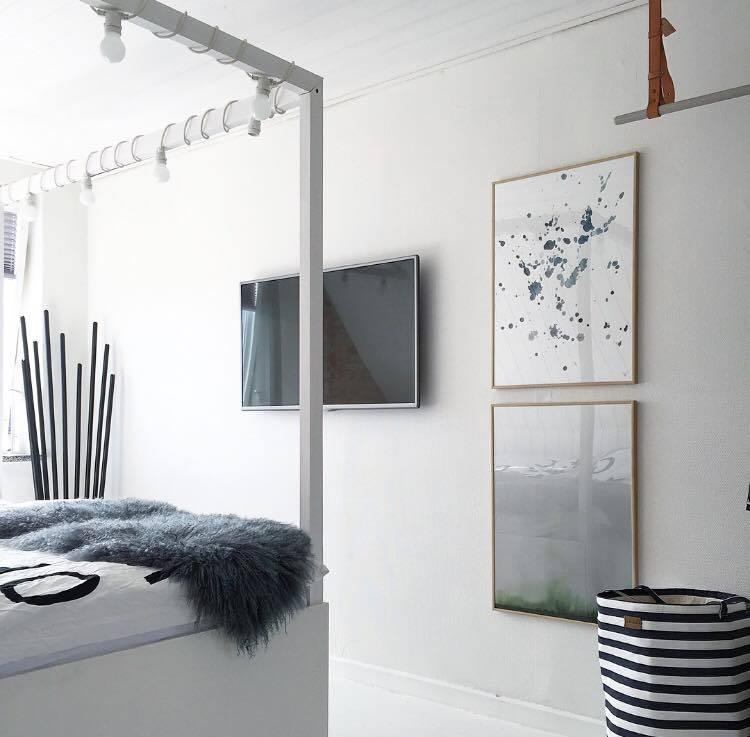 Jeg har disse to smukke 50 x 70 cm kunstprints fra Trine Holbæk i soveværelset! Hvem havde troet at BLÅ og GRØN ville finde vej SAMMEN til mit ellers så sort/hvide soveværelse ;) De to smukke prints kan findes lige HER og HER!