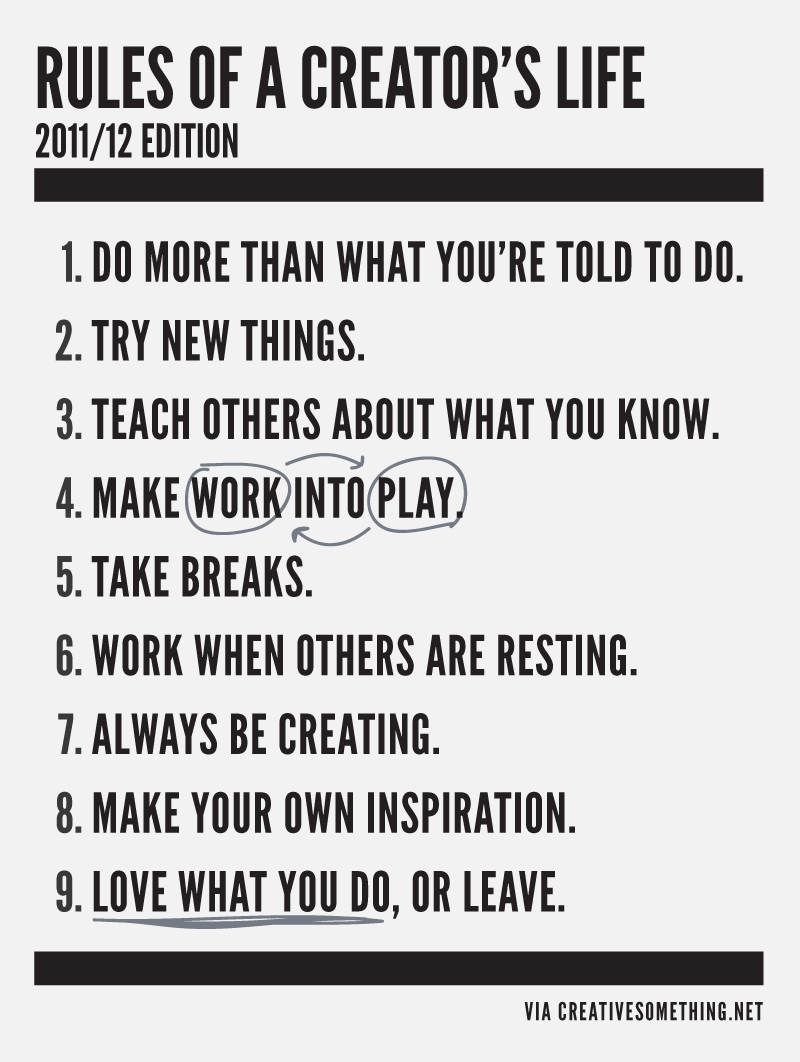 Rules of creator's life.