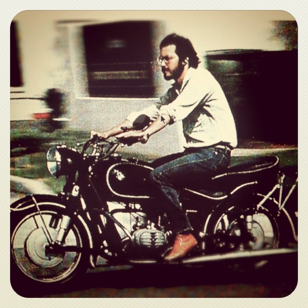 Steve cruising with his BMW motorcycle.