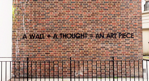 nevver :     a wall + a thought =  an art piece