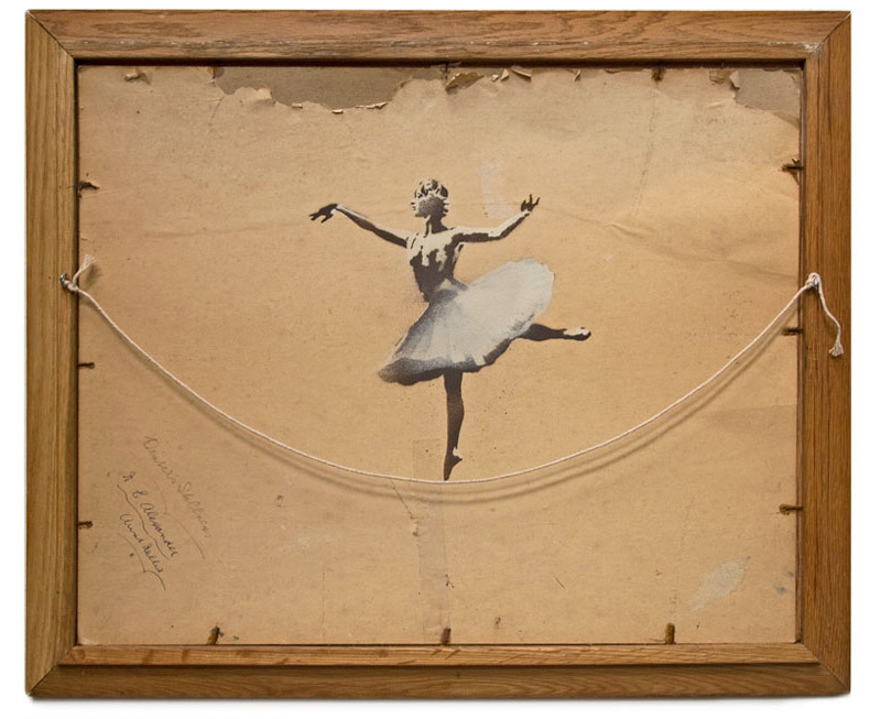 A ballerina balancing on a thread at the back of a frame. Such lyrical quality, an intangible beauty. This… is art, bravo  Banksy .    (via  The Fox is Black )