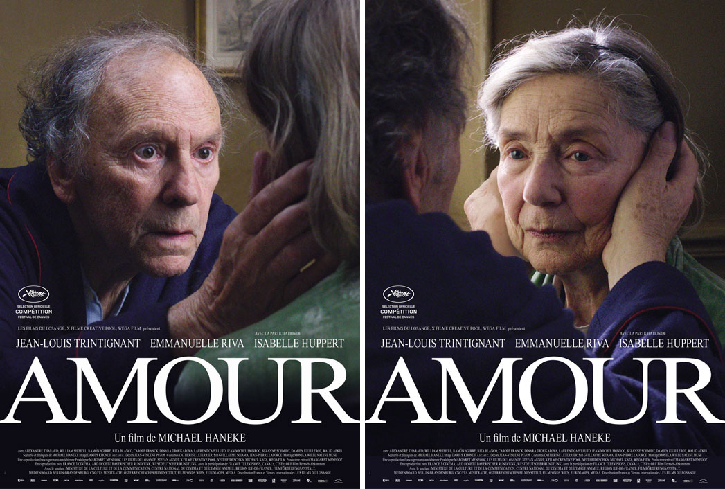 Twin French posters for Amour or Love, an upcoming film directed by Michael Haneke. The couple's expressions were perfect. Looking forward to see this one because of this poster, yeah it's a dumb reason, I know, but it just won the Palm d'Or.