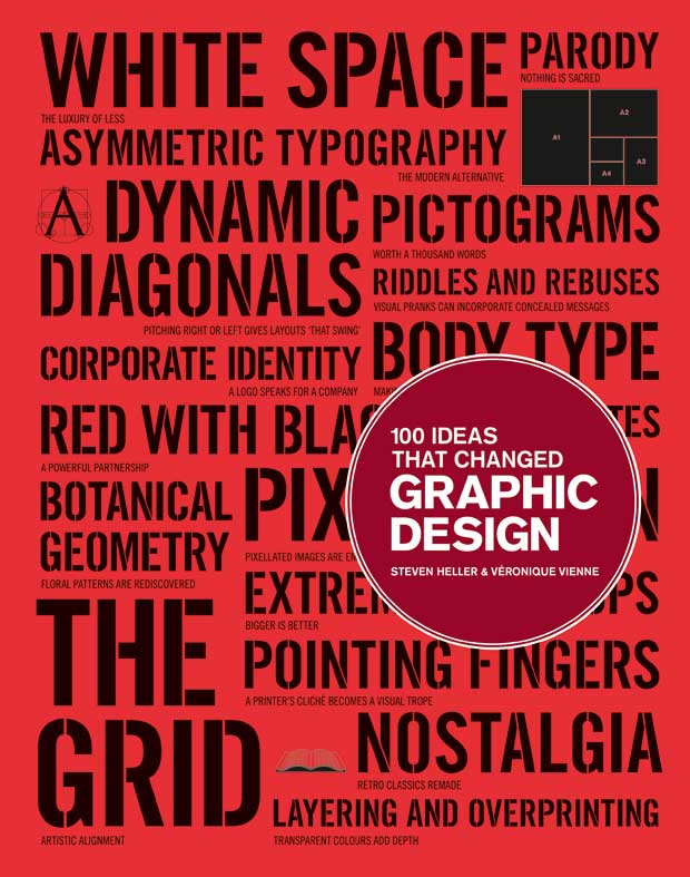 100 Ideas That Changed Graphic Design     Heller and Vienne write in the introduction:        Big ideas are notions, conceptions, inventions, and inspirations — formal, pragmatic, and conceptual — that have been employed by graphic designers to enhance all genres of visual communication. These ideas have become, through synthesis and continual application, the ambient language(s) of graphic design. They constitute the technological, philosophical, forma, and aesthetic constructs of graphic design.      Sold, where's the add-to-cart button?