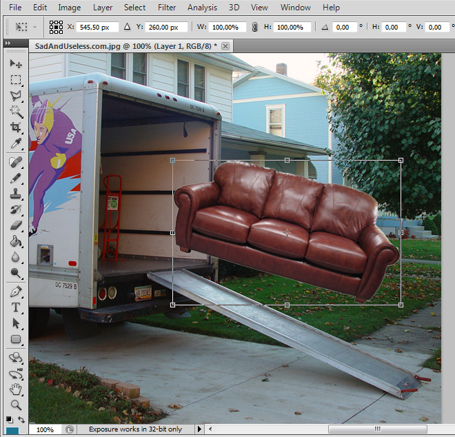 "Press ⌘+T to transform, and ""V"" to move the couch. This is a useful and funny example to use Photoshop, I wish this was real. Check all other ""usage"" cases  here     (via  Laughing Squid )"