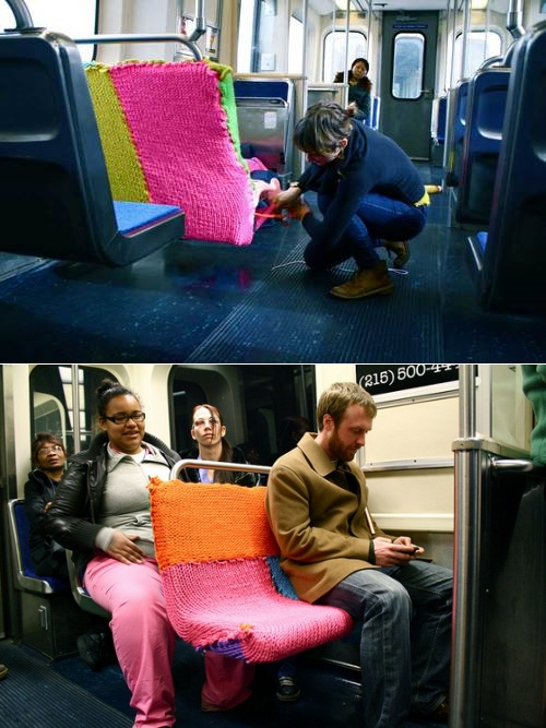 thedailywhat :      Street Art of the Day:  Guerrilla knitter Ishknits  yarn bombs a subway seat  on Philadelphia's Blue Line.   [ wooster  /  tms .]     Looks cozy.