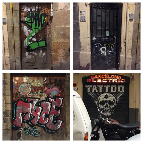 Colorful doors in the Gothic Quarter