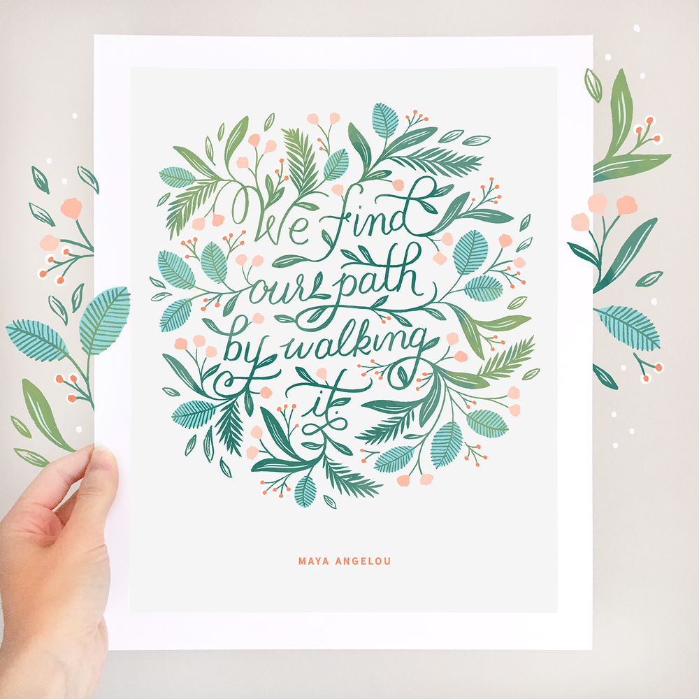 Paper Raven Co. Hand Lettered Maya Angelou Quote