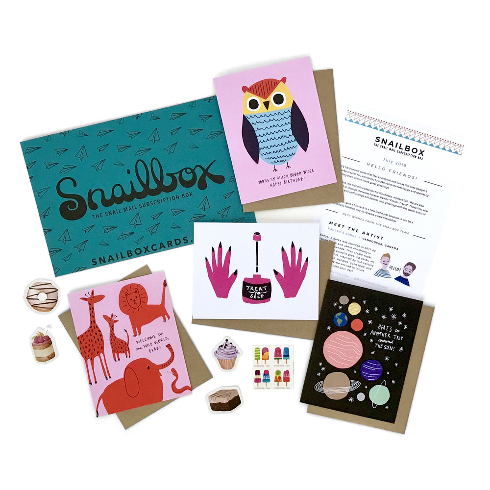 Snailbox July 2018 contents