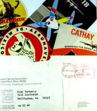 Brad Parberry's 1968 cereal box send-away prize containing luggage labels from around the world