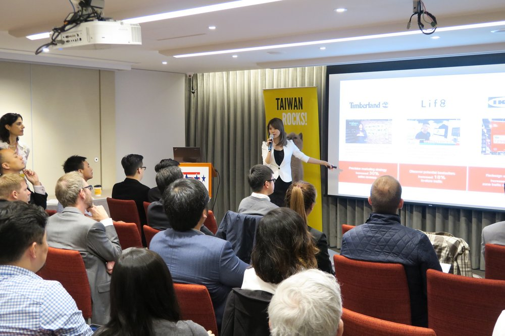 Cate Xie, CEO of SkyREC which is one of our startup member, pitching at AmCham x TSS BD event