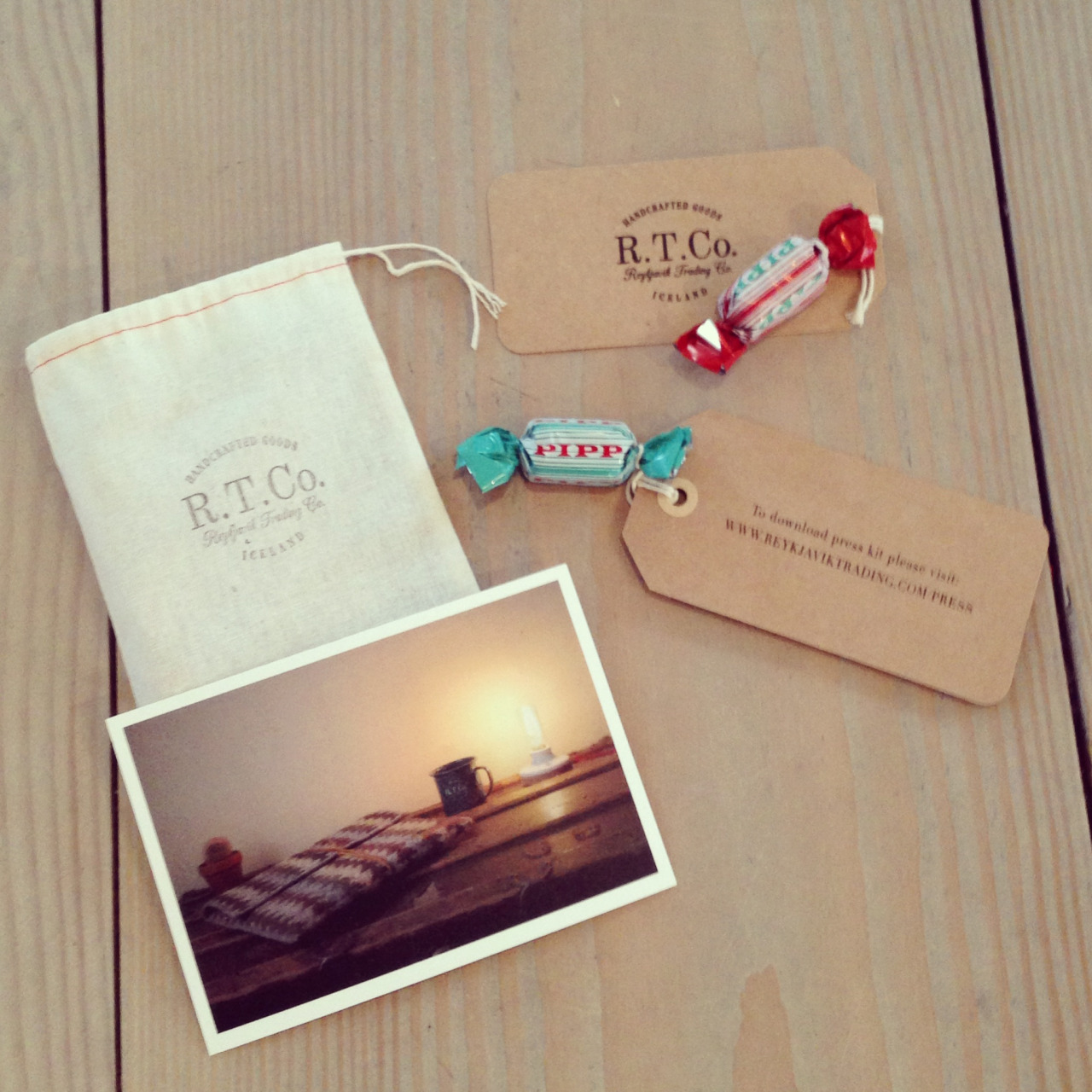 We're pretty sure no one else handcrafts press kits like ours- each one comes with a postcard, our favorite Icelandic candy & a reusable cotton bag (for coins, etc.)