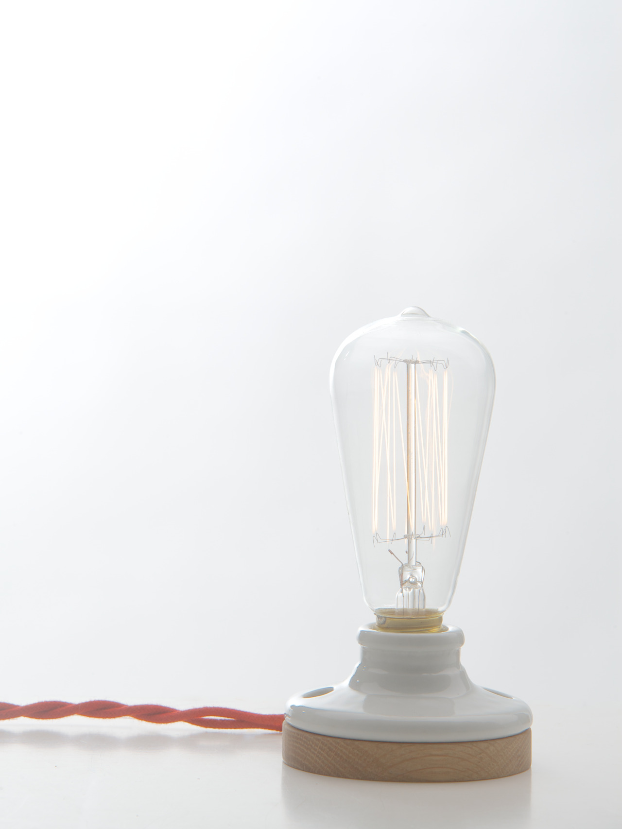 Introducing one of our new lamps this week at DesignMarch in Iceland, the handcrafted Oak & Porcelain Lamp.
