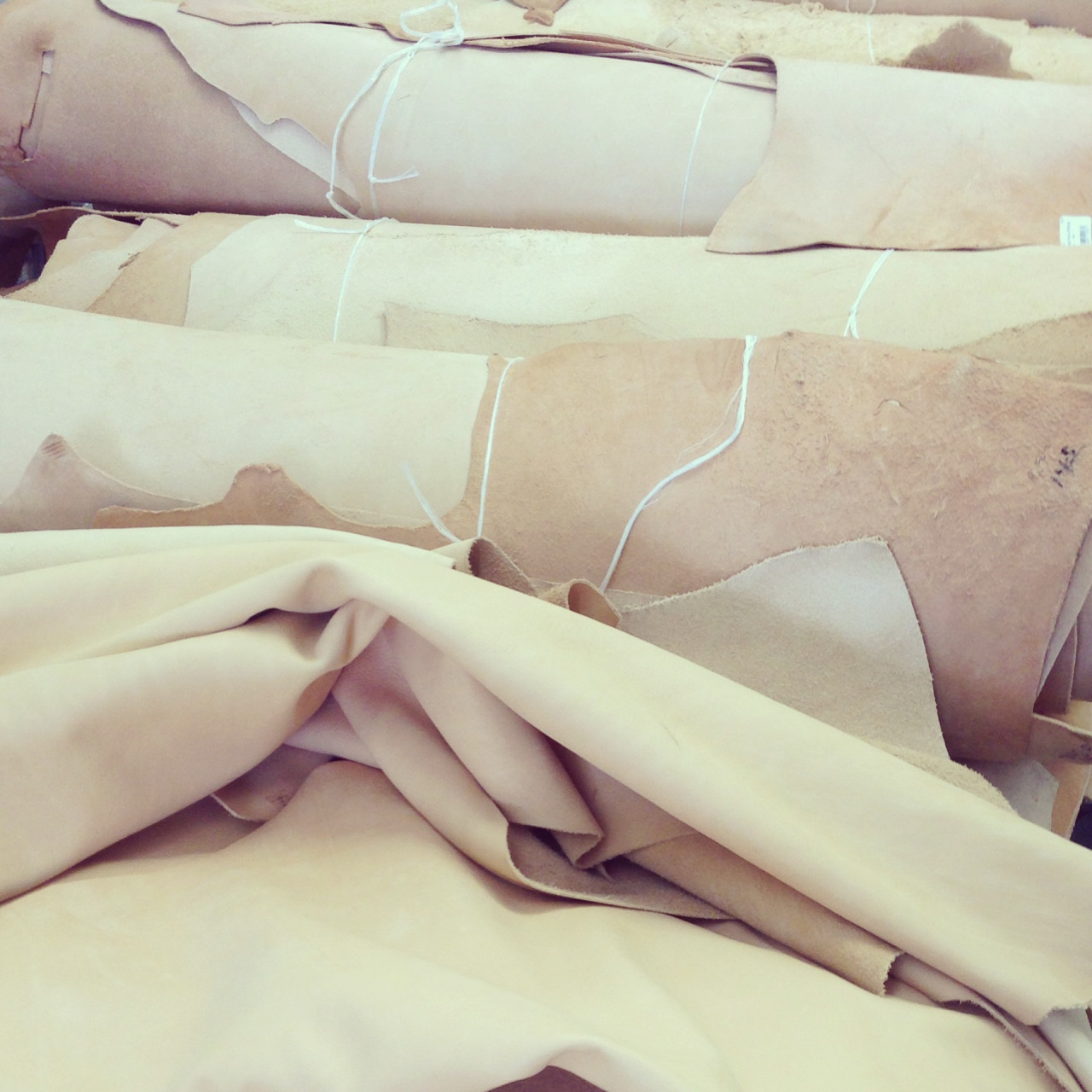 Leather factory visit in Los Angeles… Vegetable tanned cowhides galore!
