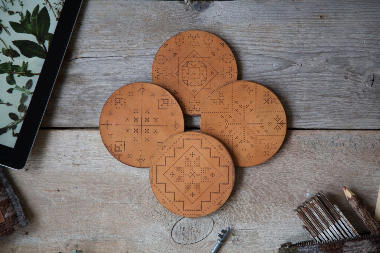 We proudly introduce our Veggie Tanned Leather & Wood Coasters.     Meticulously engraved traditional Icelandic knitting patterns along with hand-stained leather & Finnish birch, these original coasters are crafted by hand & are very limited at the moment. Sets of 2 will be available through us privately & in our selected stockists very soon just in time for spring & summer gatherings!