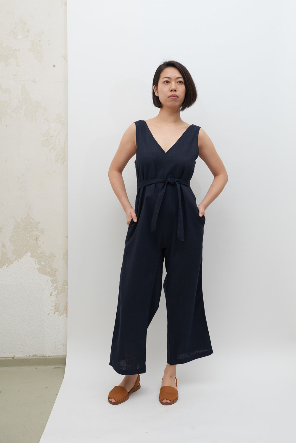 Linen Jumpsuit - Navy