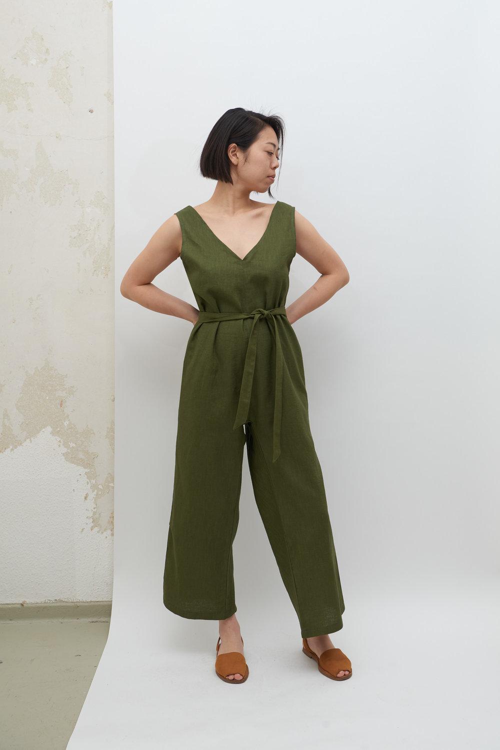 Linen Jumpsuit - Olive