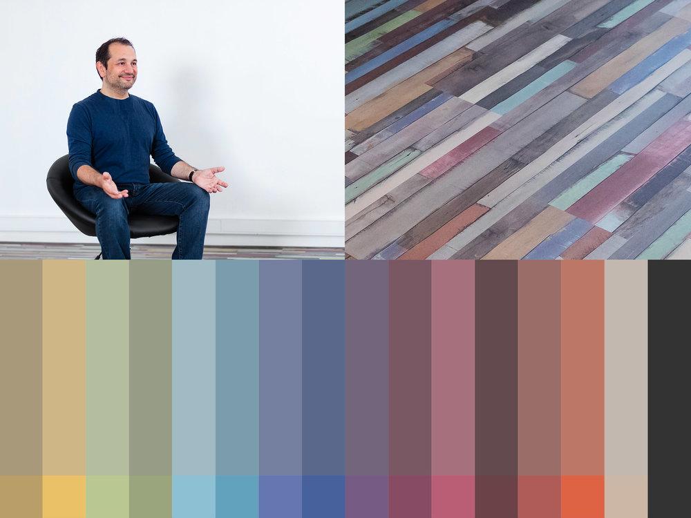 L a palette de couleurs de la charte graphique, inspirée par  le parquet peint de la pièce principale de l'académie.