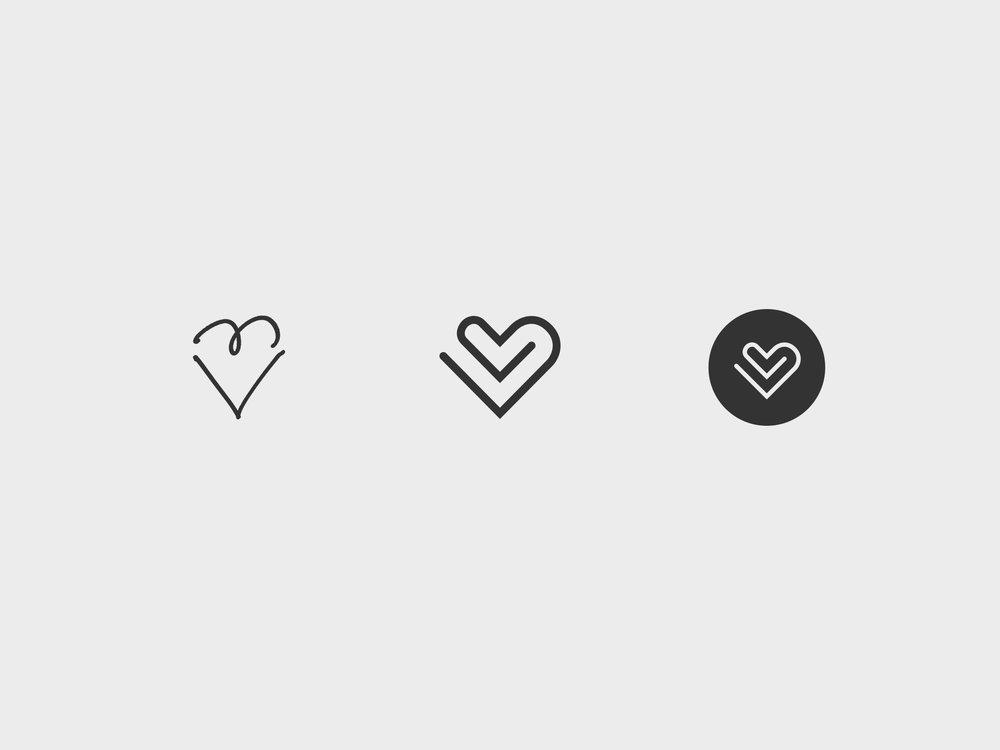 Le signe cœur, à partir des initiales LB