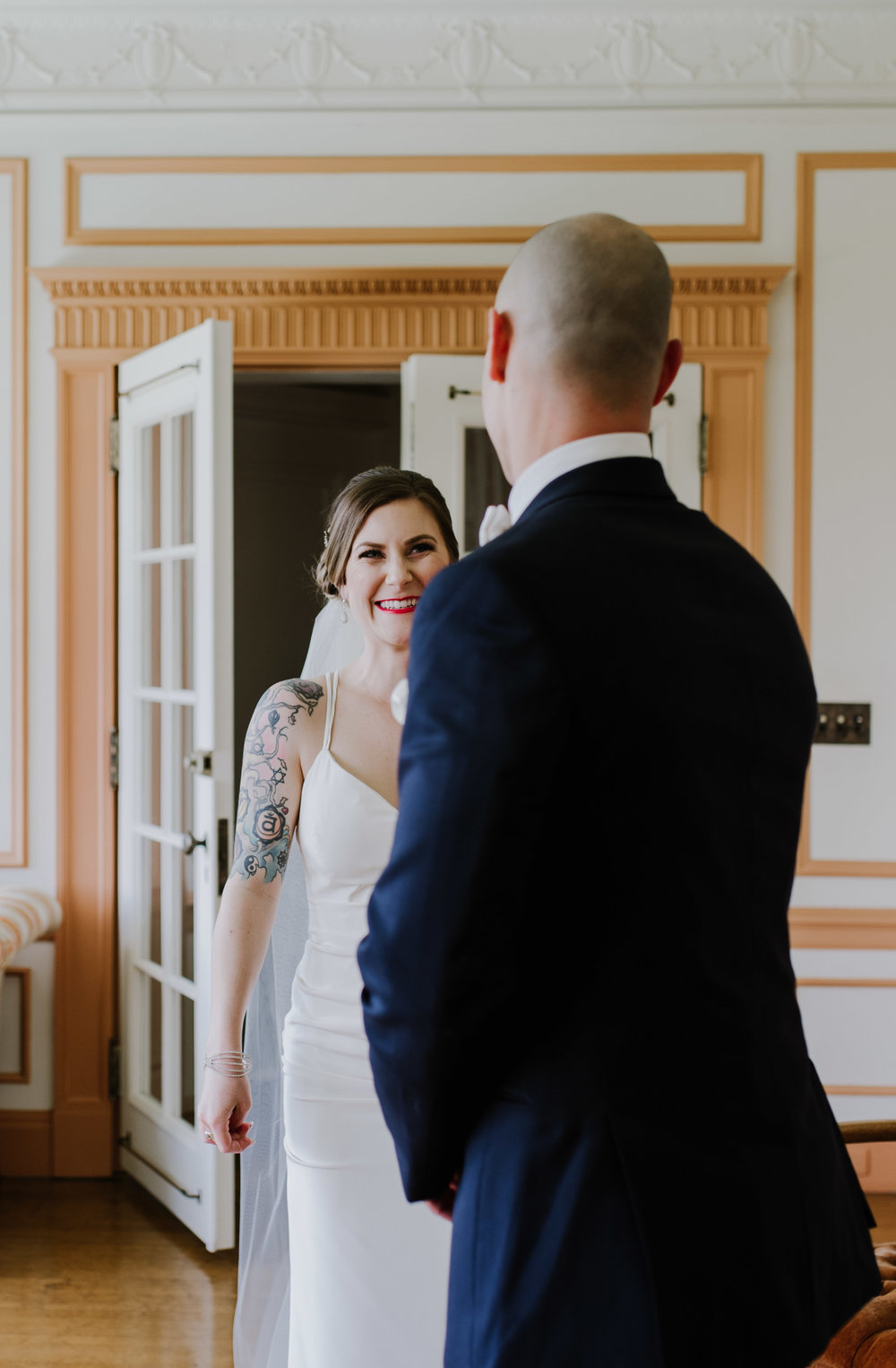 Linden Hall PA Wedding Bride and Groom Share First Look6.jpg