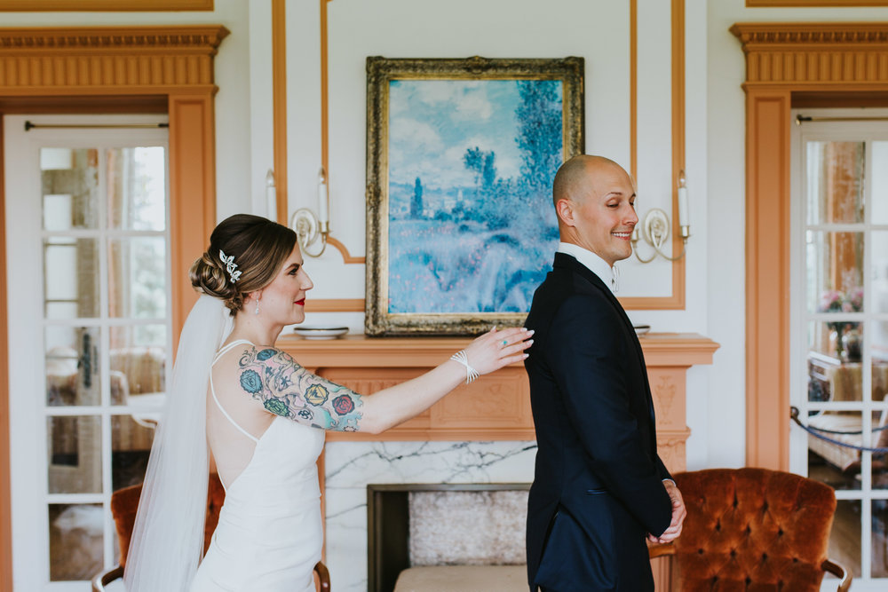 Linden Hall PA Wedding Bride and Groom Share First Look5.jpg