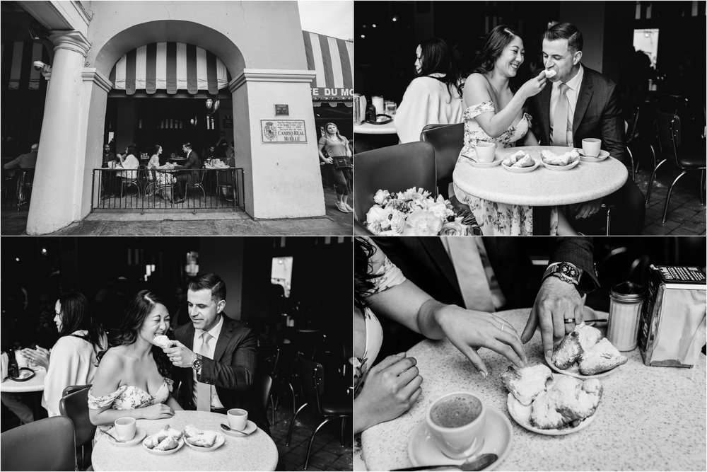 French Quarter Elopement Couple Eats Beignets at Cafe Du Monde New Orleans Wedding Photographer Ashley Biltz Photography1.jpg