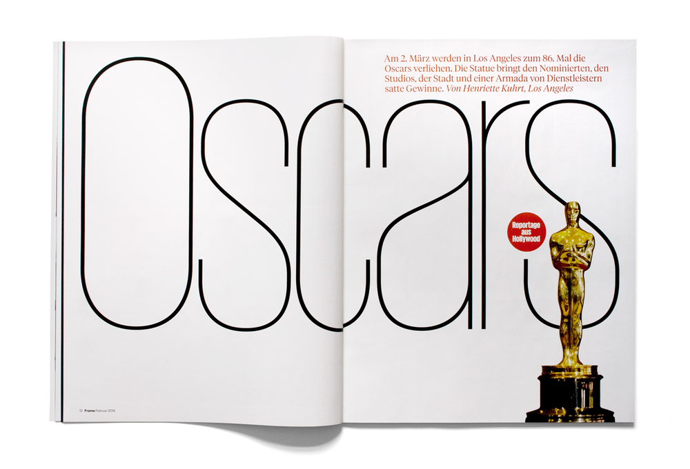 Oscars feature opener, Frame magazine