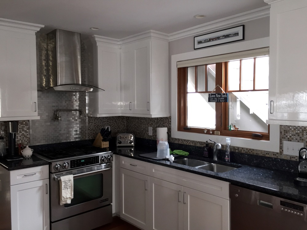 KITCHEN CABINETS — BENJAMIN MOORE ADVANCE & CLEAR COAT, BRUSHED / CROWN MOULDING — PAINTED WHITE