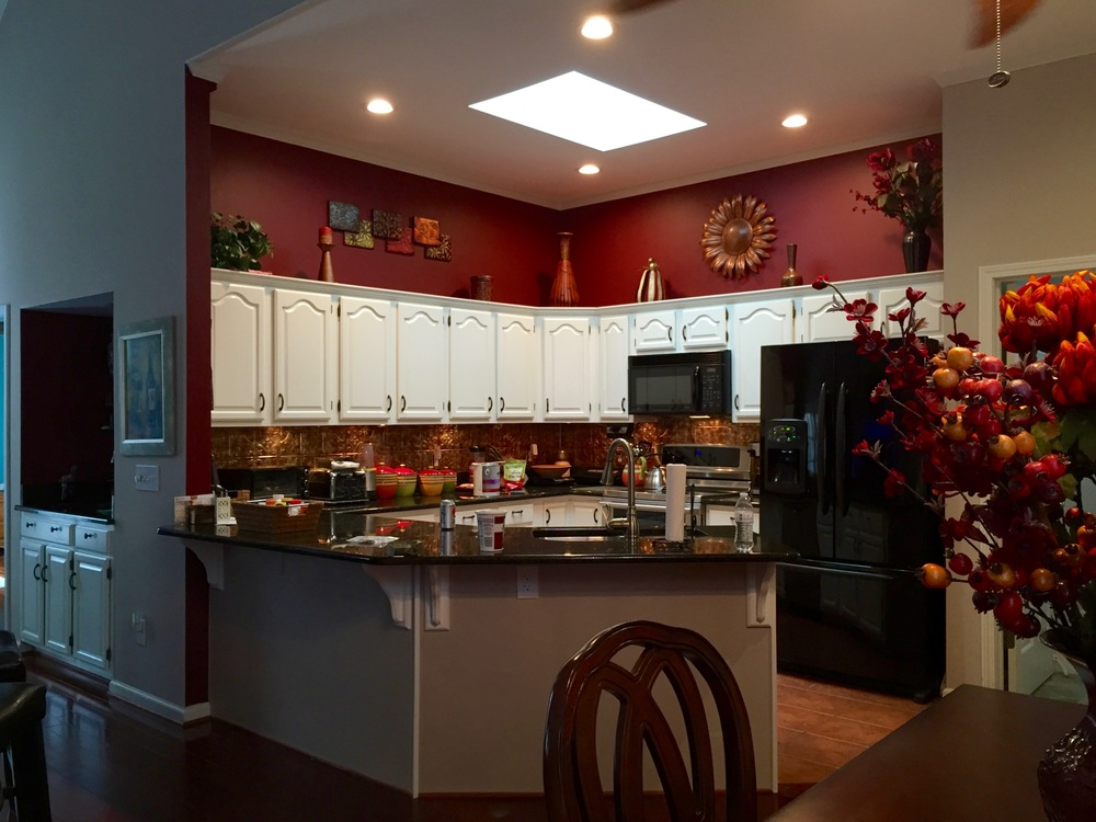 KITCHEN CABINETS — BENJAMIN MOORE ADVANCE, SPRAYED / ISLAND MATCHED TO WALL COLOR, ROLLED / POPCORN CEILING REMOVED & PAINTED / LED RECESSED LIGHTING INSTALLED