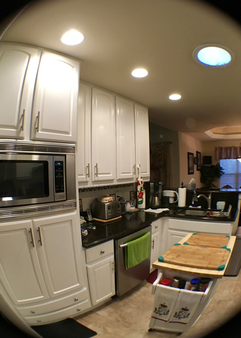 KITCHEN CABINET REPAINT:  BENJAMIN MOORE ADVANCE SATIN FINISH, INSTALL NEW HARDWARE
