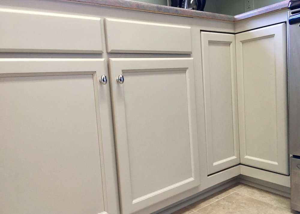 KITCHEN CABINET REPAINT:  BENJAMIN MOORE ADVANCE SATIN — YORK GRAY, REPAIR & REALIGN DOORS