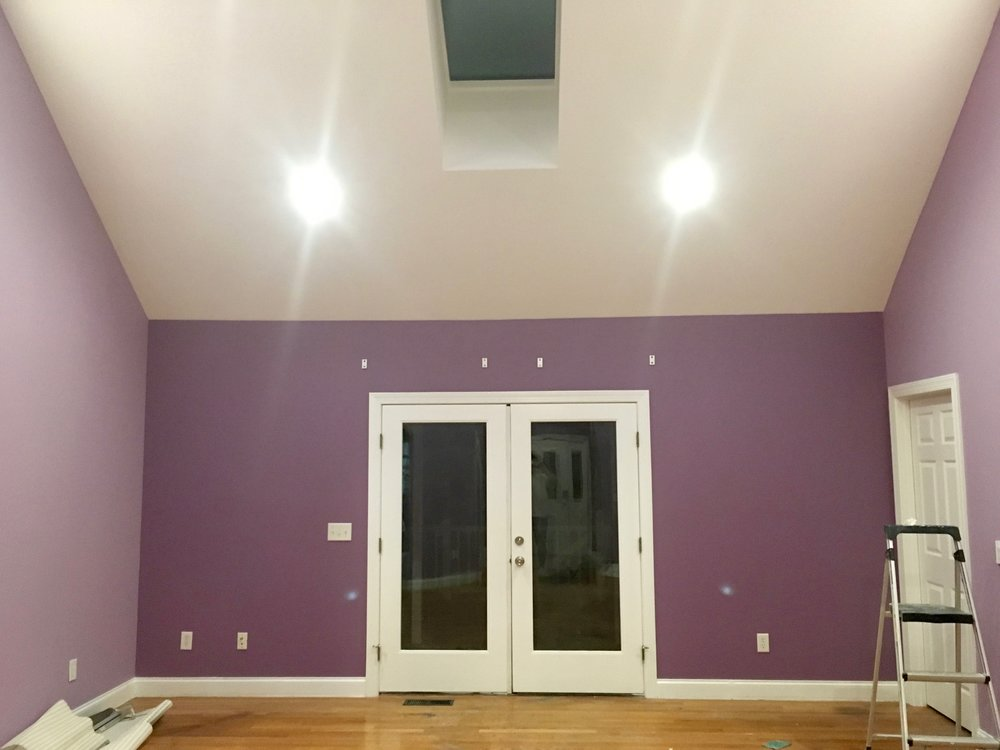 ENTIRE INTERIOR REPAINT:  WALLS, TRIM, CEILING & DOORS.  REPAIR TRIM & INSTALL LED RECESSED LIGHTING.